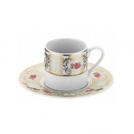 Sada 6 porcelánových šálok s tanierikom Kutahya Roso, 50 ml