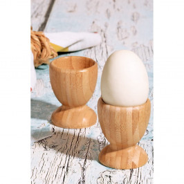 Sada 2 stojanov na vajíčka z bambusového dreva, Ø 6 cm