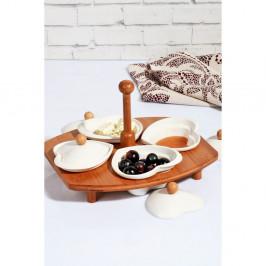 Sada 4 porcelánových mištičiek s viečkom a bambusovým stojanom Kosova Daniela