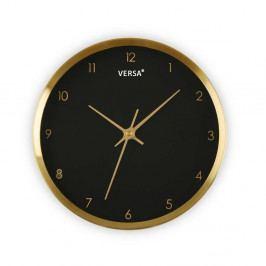 Čierne hodiny s rámom v zlatej farbe Versa Runni, ⌀ 25,8 cm