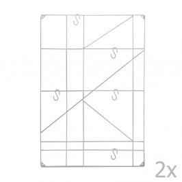 Sada 2 bielych nástenných držiakov s 5 háčikmi Versa Geometric
