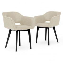 Sada 2 krémových jedálenských stoličiek s čiernymi nohami My Pop Design Oldenburger