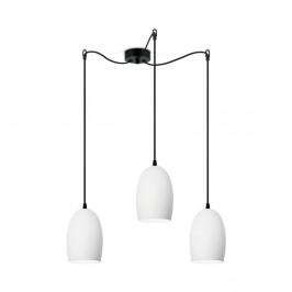 Biele trojité matné stropné svietidlo s čiernym káblom Sotto Luce Ume