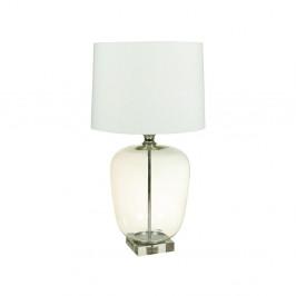 Biela stolová lampa s krištáľovou základňou Santiago Pons Klea