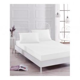 Set bielej elastickej plachty a obliečky na vankúš na jednolôžko Basso Blanco, 100 × 200 cm