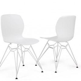 Sada 2 bielych stoličiek Garageeight Rietia