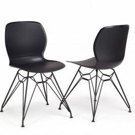 Sada 2 čiernych stoličiek Garageeight Rietia