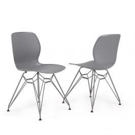 Sada 2 sivých stoličiek Garageeight Rietia