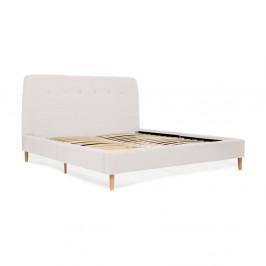 Svetlosivá dvojlôžková posteľ s drevenými nohami Vivonita Mae King Size, 180×200 cm