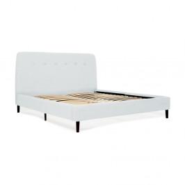Svetlomodrá dvojlôžková posteľ s čiernymi nohami Vivonita Mae Queen Size, 160×200 cm