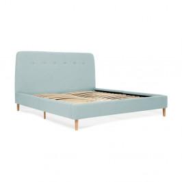 Tyrkysová dvojlôžková posteľ s drevenými nohami Vivonita Mae King Size, 180×200 cm