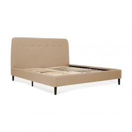 Pieskovohnedá dvojlôžková posteľ s čiernymi nohami Vivonita Mae King Size, 180×200 cm