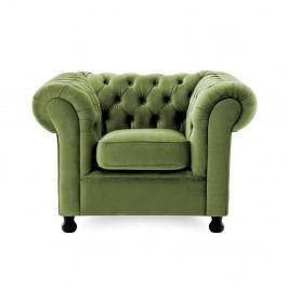 Zelené kreslo Vivonita Chesterfield