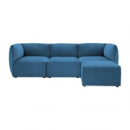 Modrá trojmiestna modulová pohovka s podnožkou Vivonita Velvet Cube