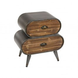 Nočný stolík z jedľového dreva a kovu Santiago Pons London Industrial
