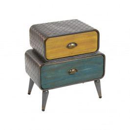 Žlto-zelený nočný stolík z jedľového dreva a kovu s 2 zásuvkami Santiago Pons London Industrial