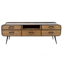 Televízny stolík z laminovaného smrekového dreva a železa Santiago Pons Curve