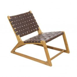 Hnedá stolička z dreva mindi a kravskej kože Santiago Pons Tony