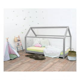 Sivá detská posteľ bez bočníc zo smrekového dreva Benlemi Tery, 120×200 cm