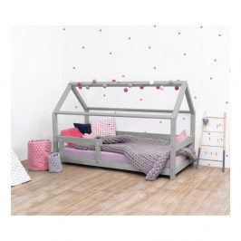 Sivá detská posteľ s bočnicami zo smrekového dreva Benlemi Tery, 90×190 cm