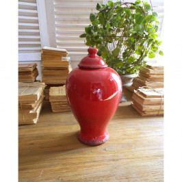 Červená keramická nádoba s viečkom Orchidea Milano, výška 30 cm