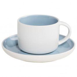 Biela porcelánová šálka s tanierikom s modrým vnútrajškom Maxwell & Williams Tint, 240 ml