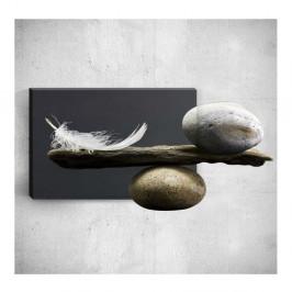 Nástenný 3D obraz Mosticx Feather With Pebbles, 40×60 cm