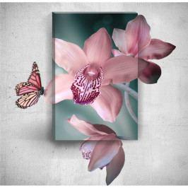 Nástenný 3D obraz Mosticx Pink Butterfly With Flowers, 40×60 cm