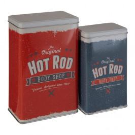 Sada 2 cínových úložných boxov Premier Housewares Barber Hot Rod