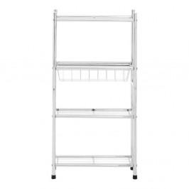 Biely 4-poschodový úložný vozík s policami a košíkom Premier Housewares