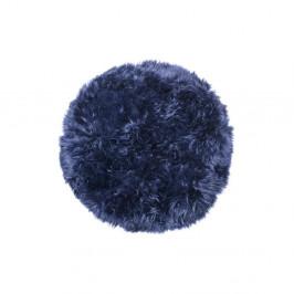 Tmavomodrý koberec z ovčej kožušiny Royal Dream Zealand, Ø70 cm