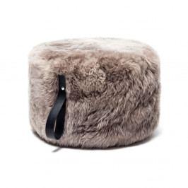 Svetlohnedý puf z ovčej kožušiny s čiernym detailom Royal Dream, Ø 60 cm