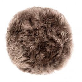 Hnedý sedák z ovčej kožušiny na jedálenskú stoličku Royal Dream, Ø35 cm
