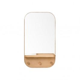 Nástenné zrkadlo s vešiakom a úložnou poličkou z dubového dreva Wireworks Butler, 41 × 73,5 cm