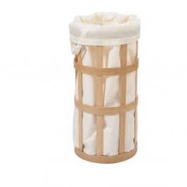 Svetlý drevený kôš na bielizeň s bielym vakom Wireworks Cage
