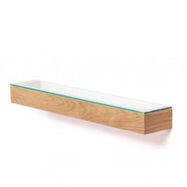 Polica so sklenenou doskou z dubového dreva Wireworks Mezza, dĺžka 55cm