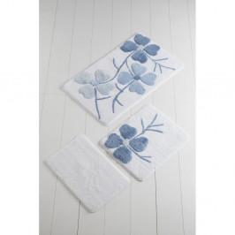 Sada 3 modro-bielych predložiek do kúpeľne Alessia Flowers