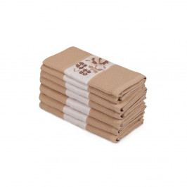 Sada 6 hnedých uterákov z čistej bavlny Simplicity, 45 × 70 cm