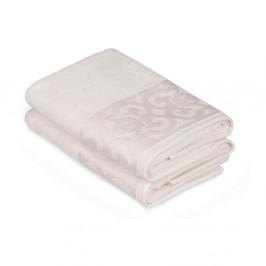 Sada 2 bielych uterákov na ruky s krémovým lemovaním Grace
