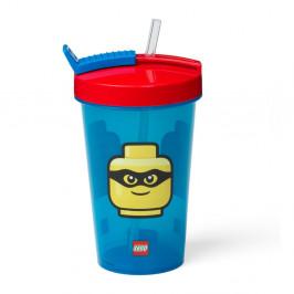 Modrý téglik s červeným vekom a slamkou LEGO® Iconic, 500 ml