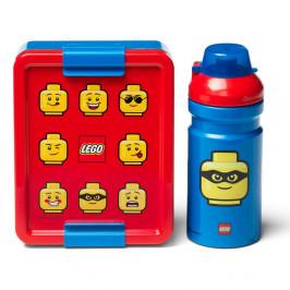 Set červeno-modrého desiatového boxu a fľaše na pitie LEGO® Iconic