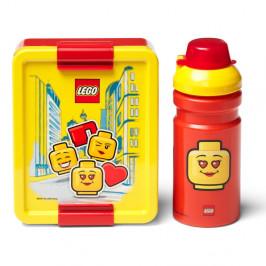 Set žlto-červeného desiatového boxu a fľaše na pitie LEGO® Iconic