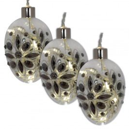 Sada 3 vianočných sklenených gulí Naeve, Ø 8 cm