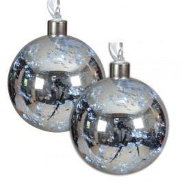 Sada 2 vianočných sklenených gulí striebornej farby s LED svetlami Naeve, Ø 13 cm