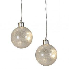 Sada 2 bielych sklenených vianočných gulí Naeve Drops, Ø 8 cm
