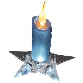 Modrá dekoratívna sviečka na podstavci Naeve, výška 16 cm