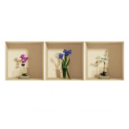 Sada 3 samolepiek s 3D efektom Ambiance Orchids