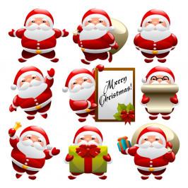 Sada 9 vianočných samolepiek Ambiance Funny Santa Claus