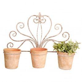 Nástenný držiak na tri črepníky Esschert Design Ornament