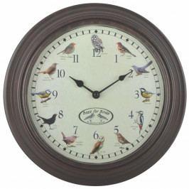 Nástenné hodiny s vtáčim spevom Esschert Design, Ø 30,1 cm